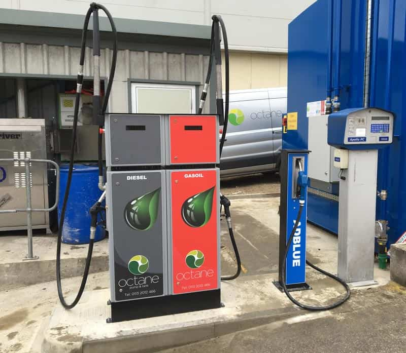 new concreate pad with diesel and gas oil dispensers